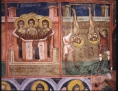 The first Christian martyrs being tortured, fresco on the first chapel 1530