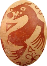 Depiction of a Peruvian monster unrelated to Arkhas, though also red with something emerging from its mouth.