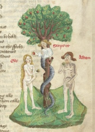 In medieval art, the responsibility of women for this 'original sin', is often emphasised by giving a female head to the serpent who tempts Eve to disobey God. The story underlined the belief tha