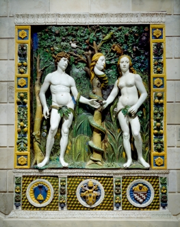 Workshop_of_Giovanni_della_Robbia_-_Adam_and_Eve 1515 During this period, women were often described as untrustworthy, and this negative idea is reflected in the gender of the face of the snake.