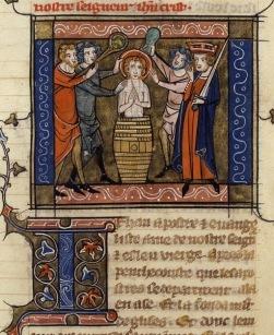 Richard de Montbaston_Jacobus de Voragine, Legenda Aurea_France)Paris)_1348_Martyrdom of St. JE_BNF_Francais 241, fol. 122