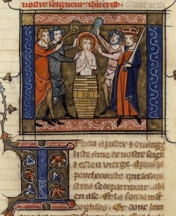 Richard de Montbaston_Jacobus de Voragine, Legenda Aurea_France)Paris)_1348_Martyrdom of St. JE_BNF_Francais 241, fol. 122