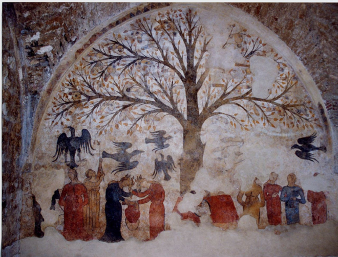 A 13th century depiction of witches. Notice anything in the tree?